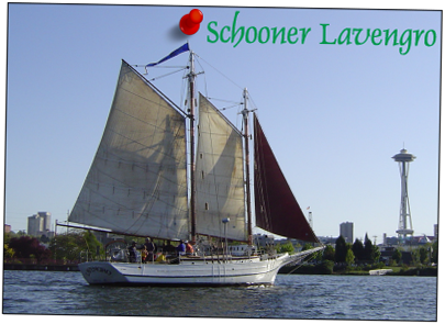 The historic Schooner Lavengro, last of the original Biloxi schooners, sailing in Seattle.