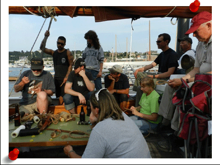 Rigging, sail repair, making baggywrinkles and other sailors arts are taught aboard the Schooner Lavengro.